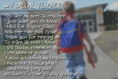 """My Special Teacher"" printable teacher appreciation poem"