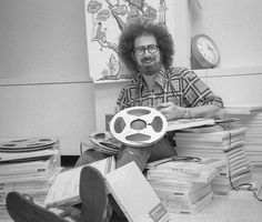 Former NPR producer Steve Rathe sits among reel tape in the early days of the network, now being revisited for the NPRchives Tumblr page. (Photo: NPR)