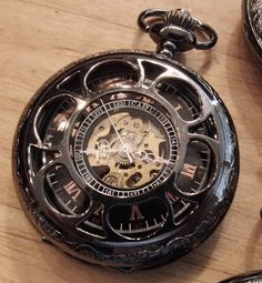 Gunmetal Black Mechanical Pocket Watch with Chain Copper Dial Groomsmen Gift Ships from Canada on Etsy, $65.00