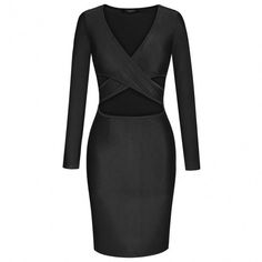 Women Fashion Sexy Slim V Neck Long Sleeve Padded Solid Party Clubwear Bodycon Dress