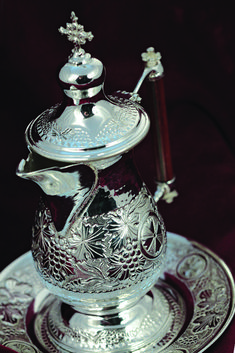 Height: diameter of tray: Byzantine Art, Utensils, Tray, Handle, Big, Silver, Flatware, Dishes, Trays