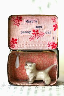 What's new pussy cat,  vintage filled miniature story tin, by Little Burrow Designs