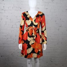 1960s Victor Costa Romantica Dress psychedelic floral print orange yellow mod #VictorCosta