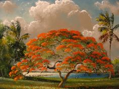 Here's a cap tip to Tony Hayton. He's doing his best to gain national attention for this highwaymen art. I, for one, appreciate his effort. African American Artist, American Artists, Watercolor Landscape, Watercolor Paintings, Watercolors, Landscape Design Plans, Flamboyant, Vintage Florida, Tropical Landscaping