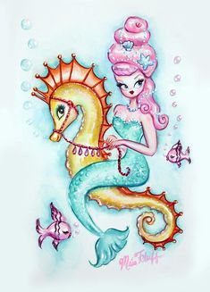 Mermaid with Pink Bouffant Original Painting by Miss Fluff! Inspired by vintage mermaid illustrations and decals of the Seahorse Art, Mermaid Wall Art, Mermaid Fairy, Seahorses, Mermaid Canvas, Mermaid Lagoon, Miss Fluff, Dibujos Pin Up, Mermaid Illustration