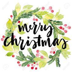 http://previews.123rf.com/images/karma15381/karma153811507/karma15381150700051/42524158-Christmas-card-Watercolor-painting-Hand-lettering-Wreath-for-Christmas-Watercolor--Stock-Vector.jpg