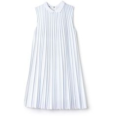 White Women's Striped Jersey and Pleated Dress (660 RON) ❤ liked on Polyvore featuring dresses, loose dress, white jersey, stripe jersey dress, striped polo dress and polo dresses