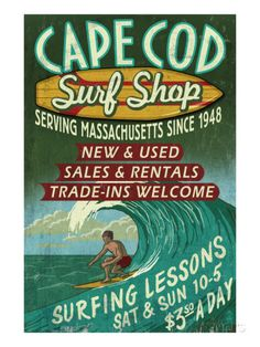 Cape Cod, Massachusetts - Surf Shop Posters by Lantern Press at AllPosters.com