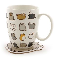 """Pusheen by Our Name is Mud """"Pusheen Kitties"""" Stoneware Coffee Mug and Coaster Gift Set, 12 oz. Gato Pusheen, Pusheen Love, Cat Mug, Glass Coasters, Coaster Set, Coffee Cups, Mugs, Creative, Projects"""