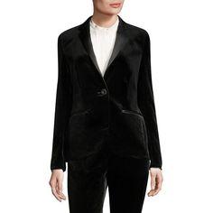 Escada Brikenant Velvet Tuxedo Jacket (57.885 RUB) ❤ liked on Polyvore featuring outerwear, jackets, blazers, dinner jacket, tux blazer, escada, velvet tuxedo blazer and escada blazer