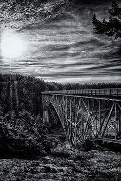 Landscape and architecture wall art black and white industrial bridge by Visionitaliane