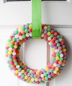 This fun and colorful gumdrop wreath only uses three ingredients - gum drops, toothpicks, and a styrofoam wreath   From Cheryl of A Pretty Cool Life