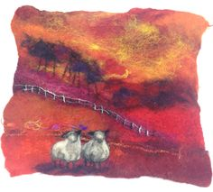Sheep#felt painting # textiles#wools#silks#fibres