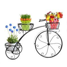 Patio Garden Tricycle 3 Tier Black Metal Planter Display Backyard Home Decor #Dazone