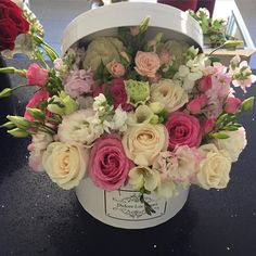 Fresh flowers in a box Box Of Flowers, Flower Boxes, My Flower, Pretty Flowers, Wedding Flowers, Fresh Flowers, Beautiful Flower Arrangements, Floral Arrangements, Deco Floral