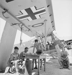 A temporary flight office of an RAF squadron at work, sheltered from the sun beneath the wing of an abandoned Fiesler Storch at Comiso, Sicily.