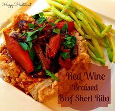 Red Wine Braised Beef Short Ribs with Roasted Cauliflower and Parsnip Puree #HappyHealthnut