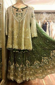 Shirt features marvelous and awesome embellishments accent all-over the front. Pakistani Bridal Wear, Pakistani Wedding Dresses, Bridal Lehenga, Bridal Dresses, Pakistani Suits, Sharara Designs, Bridesmaid Saree, Green Lehenga, Desi Clothes