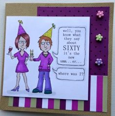 digital stamp - sixty is the new...umm...where was I?  Sixtieth birthday image by Handmade Habour