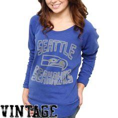 fd6d01538 Seattle Seahawks Ladies Classic Off-The-Shoulder Sweatshirt - Steel Blue   49.95 - size