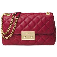 Michael Michael Kors Sloan Chain Large Shoulder Bag (10.455 RUB) ❤ liked on Polyvore featuring bags, handbags, shoulder bags, cherry, quilted chain shoulder bag, chain strap purse, chain handle handbags, quilted handbags and chain strap shoulder bag