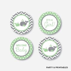 "Instant Download, Whale Cupcake Toppers, Green Whale Party Circle, Green Gray Chevron Toppers, 2"" circles, Boy, Girl, Little Squirt (SBS.56) by everjolly on Etsy https://www.etsy.com/listing/496494153/instant-download-whale-cupcake-toppers"