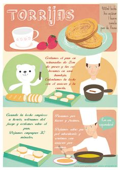 Recipe for Semana Santa: Torrijas Spanish Desserts, Spanish Cuisine, Spanish Dishes, Spanish Food, Love Eat, Love Food, Mexican Food Recipes, Sweet Recipes, Food Vocabulary