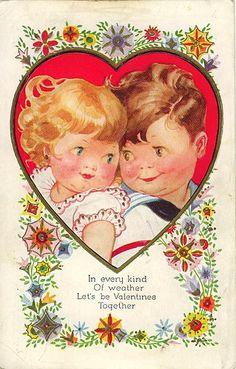 """In every kind of weather, Let's be Valentines Together"" Vintage Valentine"