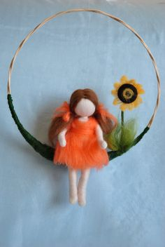 Waldorf inspired needle felted doll mobile girl and by MagicWool