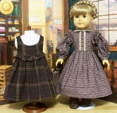"1854 Plaid Pinafore & Prairie Dress- Made to Fit 18"" American Girl Doll Kirsten. By KeeperDollyDuds"