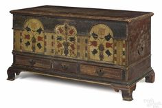 Important Lancaster County, Pennsylvania painted poplar architectural dower chest, dated 1795 - Price Estimate: $90000 - $120000