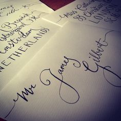 Modern calligraphy envelope addresses handwritten invitations. My first go at modern calligraphy