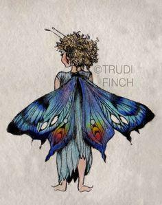 Fairy Child by Trudi Finch xXx Fairy Dust, Fairy Land, Fairy Tales, Magic Fairy, Magical Creatures, Fantasy Creatures, Fairy Drawings, Fairy Wings Drawing, Arte Fashion