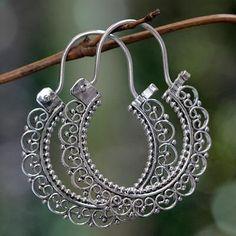 Artisan Jewelry Sterling Silver Hoop Earrings - Balinese Lace   NOVICA