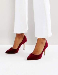 Head Over Heels by Dune Alana Velvet Pointed Pumps - Red Work Pumps, High Heel Pumps, Pump Shoes, Court Shoes, Low Heels, Women's Shoes, Basket A Talon, Red Pumps, Cute Heels