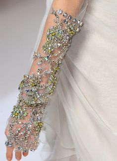 Gloves... jewels on transparent material