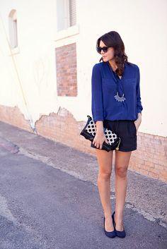 blue and black with polka dot handbag... love!