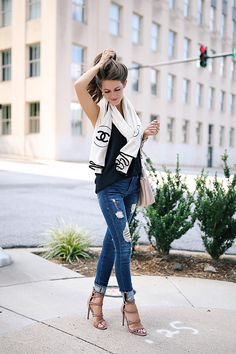 ripped jeans and Chanel scarf
