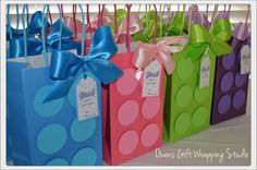 Girl Building Block Party Favor Bags Friends by OwensGiftWrapping
