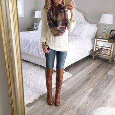 plaid blanket scarf, cream cable knit sweater, faded skinny jeans, tall brown boots