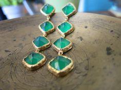 Green Onyx and Gold Ada Drop Earrings  Green by mialarajewelry