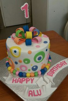 Colorfully happy, birthday cake, made by Colleen de Wet