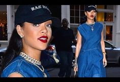 Rihanna models a full-on denim look while out in New York