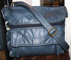 Fossil Blue Leather Cross Body Explorer Messenger Handbag #Fossil #MessengerCrossBody