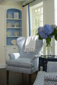 Blue and white wing chairs