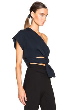 Image 3 of Tome FWRD EXCLUSIVE Silk Crepe One Shoulder Top in Navy