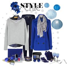 """blue white grey"" by ntina36 on Polyvore"
