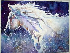 Horse Painting - White Horse In The Water by Bob Snider