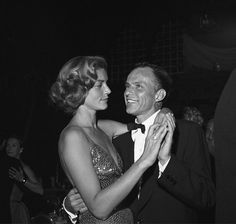 Frank Sinatra dancing with Lauren Bacall at a post-premiere party 11-13-1954