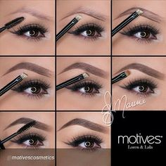 1)Clean groomed brows=212 Spoolie brush to comb 2) use #213 brow brush, line the bottom part of brow, creating shape! (Follow natural shape) 3⃣Line top of brow going a little less then halfway =gives outline and shape 4⃣Fill in brows, but leave front of the brow bare (use a light hand near front of brow. 5⃣Without anymore product, brush upward filling in front of brow, diffusing the lines. 6⃣More defined = use concealer for clean up 7 set brows in place = Motives Brow Perfecting Gel (Dark…